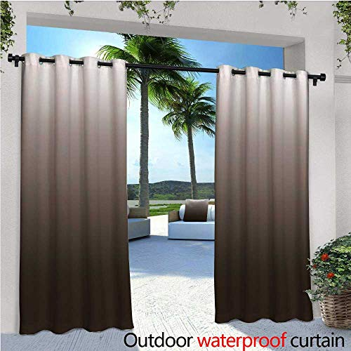 Ombre Balcony Curtains Chocolate and Cream Inspired Digital Colors Ombre Design Modern Abstract Vision Outdoor Patio Curtains Waterproof with Grommets W72 x L84 Brown and White
