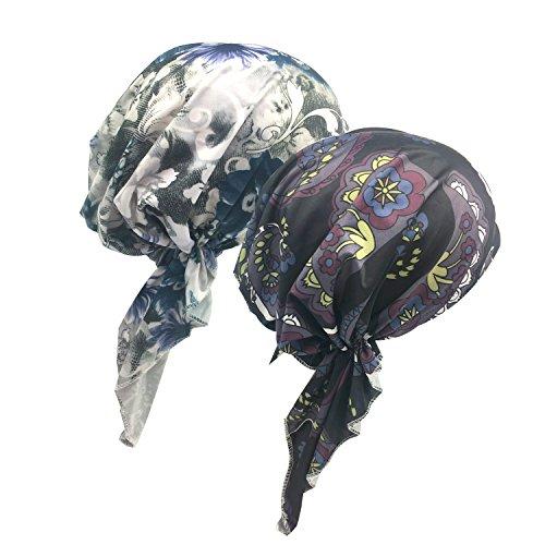Senker 2 Pack Womens Bandana Scarf Pre Tied Chemo Hat Beanie, Turban Headwear For Cancer