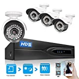 TMEZON Face defection 1080P HD-TVI + DVR Video Security System 8CH 1080P DVR with 4x HD 1920TVL 2.0 MegaPixels Weatherproof CCTV Camera Supports up to 6TB HDD