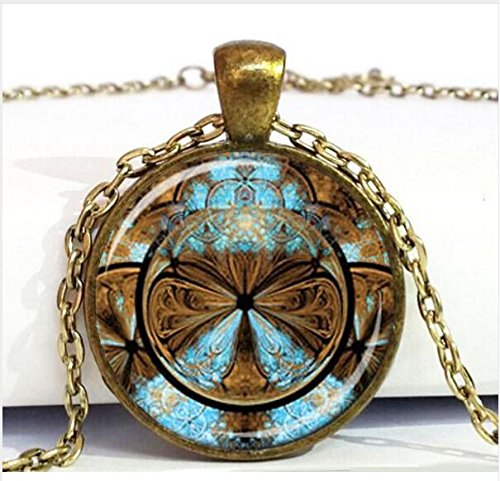 STEAMPUNK FRACTAL Pendant Turquoise and Brown Steampunk Necklace Fractal Necklace with Steampunk feel Sacred Geometry ()
