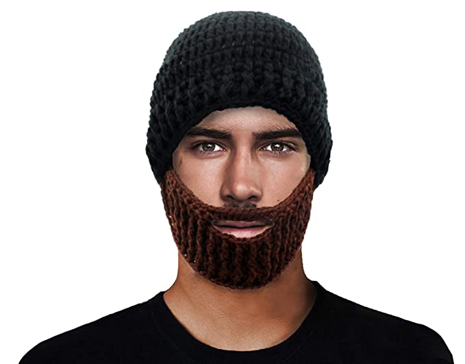 6b528ed6b8b Image Unavailable. Image not available for. Color  GIANCOMICS Black Wacky Beard  Hat Knit Funny Crochet Beanie Cap Wind Mask HM200