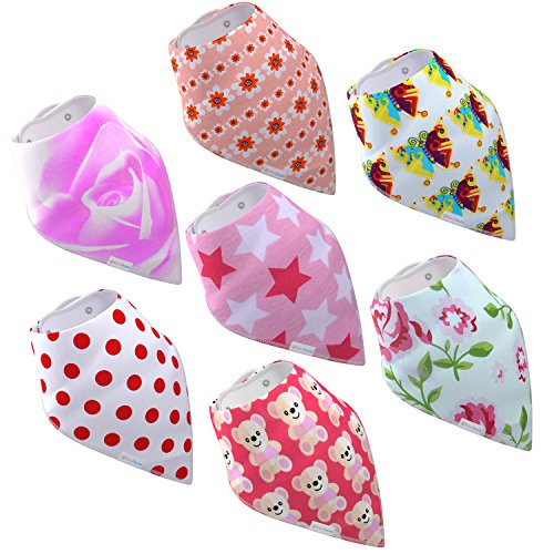 [Baby Bandana Drool Bibs By Daulia, Girls 7-Pack Absorbent Organic Cotton, Cute Baby Gift for Girls] (Making Elf Costume)