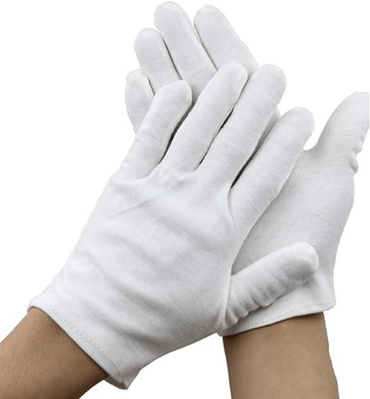 24 unidades, 100/% algod/ón color blanco Juego de guantes de tela