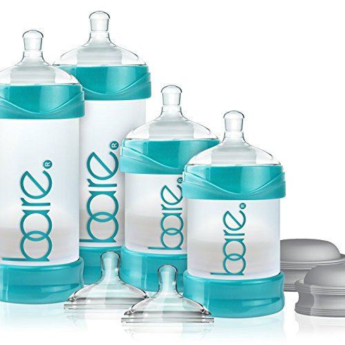 Baby Bottle - Bare Air-Free Feeding System, Easy Latch Nipple For Bottle-Fed Babies - Starter Set