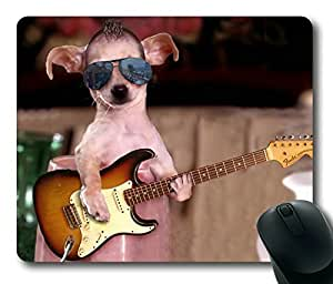 Cool Dog Street Performers to Play Guitar Rectangle mouse pad Your Perfect Choice