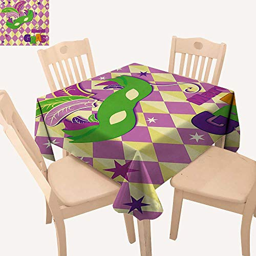 WinfreyDecor Mardi Gras Fabric Tablecloth Checkered Pattern with Stars Graphic Mask Harlequin Festival Composition Kitchen Table Cover Pink Yellow Green W 54