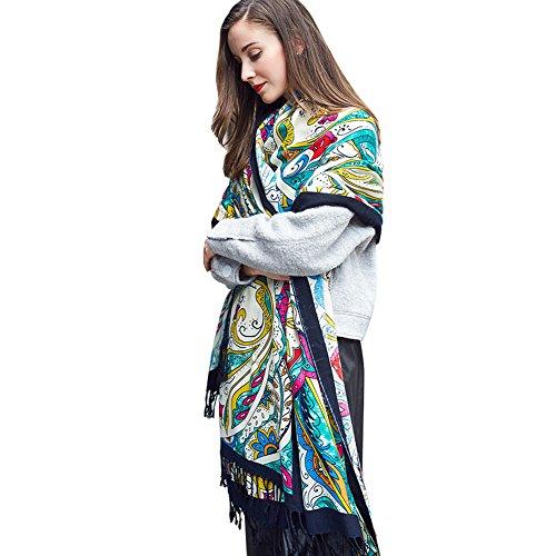 DANA XU 100% Pure Wool Women Winter Large Scarf Pashmina (Black&Green)