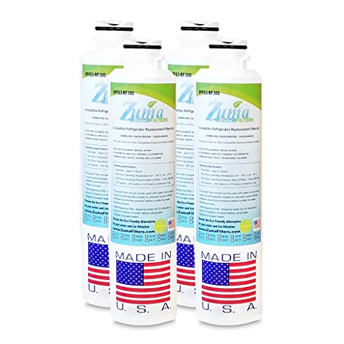(4 Pack)Samsung DA2900019A Compatible Refrigerator Water and Ice Filter by Zuma Water Filters (OPFS3)
