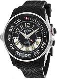 Vulcain Cricket X-TREME Mens Manual Wind Black Face Alarm Black Rubber Strap Swiss Watch 101924.160RF