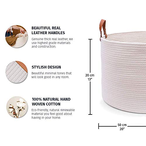 "OrganiHaus XXL Extra Large Cotton Rope Basket with Real Leather Handles | Wide 20""x13.3"" Woven Blanket Storage Basket 