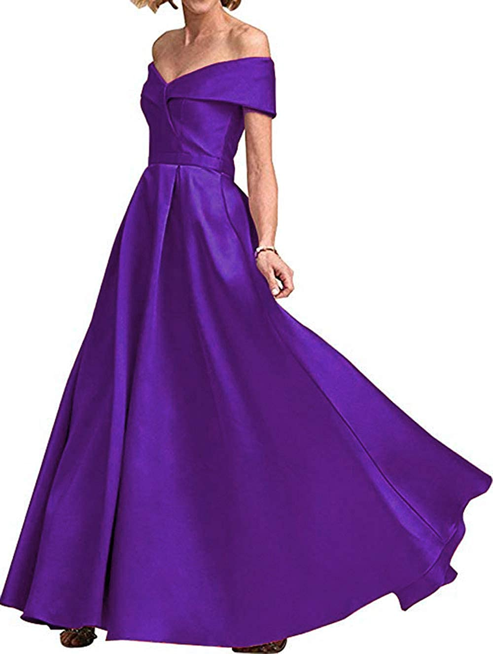 Purple Rmaytiked Womens Off The Shoulder Prom Dresses Long 2019 Satin A Line Formal Evening Ball Gowns with Pockets