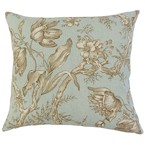 The Pillow Collection P18FLAT-D-42466-619-SEAGLASS-C89R11 Ilise Floral Throw Pillow Cover, 18