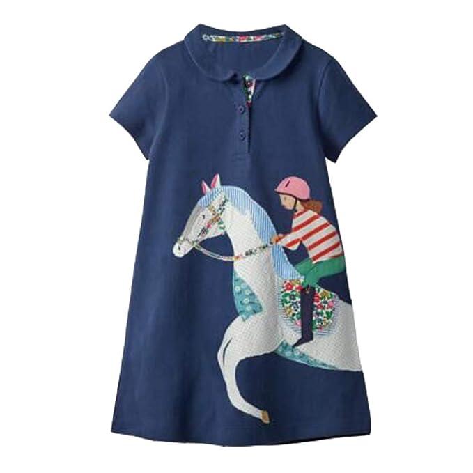 f832d90631 KIDSALON Girls Crewneck Cotton T-shirt Dresses Animal Applique Dress Short  Sleeve (3T