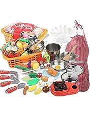 Xuanshengjia 42PCS Play Kitchen Food Toy Set, Kids Play Food Toys, Kids Snijden Fruit en Groenten Game Set - Educatief Leren Speelgoed