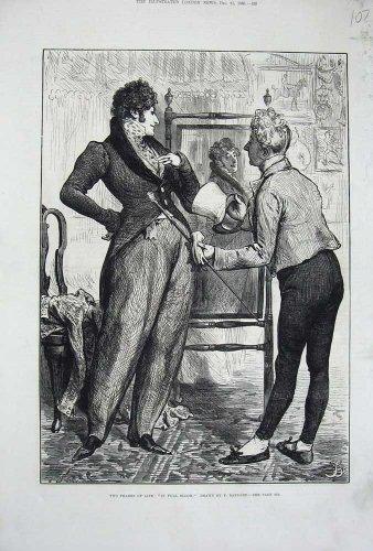 [Old Original Antique Victorian Print 1880 Barnard Gentleman Mirror Costume Servant 107N738] (Victorian Servant Costumes)
