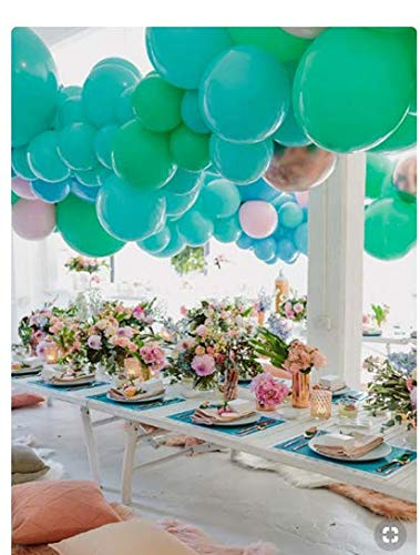 PartyWoo Party Balloons, 70 pcs 10 Inch Turquoise Balloons Teal Balloons Baby Pink Balloons Green Balloons for Turquoise Decor, Aqua Party Decorations, Teal Party Decorations, Teal Baby ()