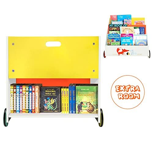 Labebe Kid Bookshelf With Wheels Orange Fox Wood For Kids 1 Year Up