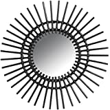 Miroir mural soleil en rotin noir Ø 60 cm