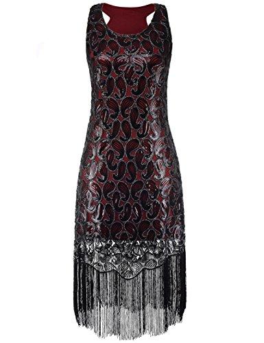 [PrettyGuide Women 1920s Sequin Paisley Racer Back Tassels Hem Flapper Cocktail Dress XXL Burgundy] (Dress 1920s)