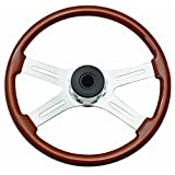 Woody's WP-SWF8901 Rosewood Chrome Truck Steering Wheel (Beautiful African Hardwood)