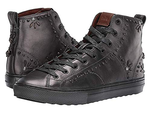 Coach C216 Bejeweled High Top Lace Up Sneakers, Gunmetal, 7 US / 37 EU (Tops High Coach)