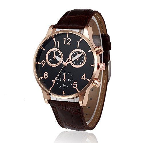 Han Shi Wrist Watch, Man Fashion Watch Retro Leather Band Analog Alloy Quartz Clock (A, Brown)