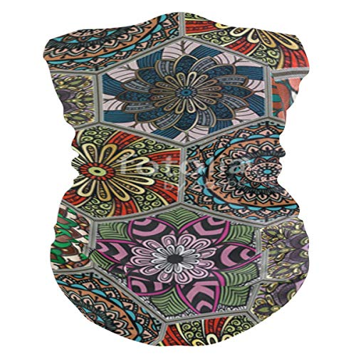 Hexagonal Boho Floral Balaclava Womens Headband Scarf Mens Versatile Bandana, Muffler, Neck Gaiter, Magic, Wristband Helmet Liner