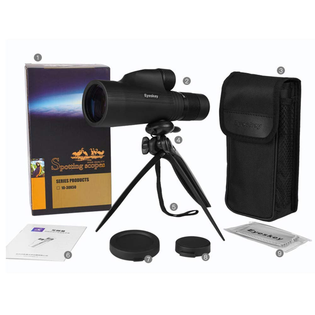 WMC 10-30X50 HD Zoom High Power Monoculars Telescopes, Low Light Night Vision Monoculars for Mobile Phone Photo and Outdoor (Black) by WMC (Image #7)
