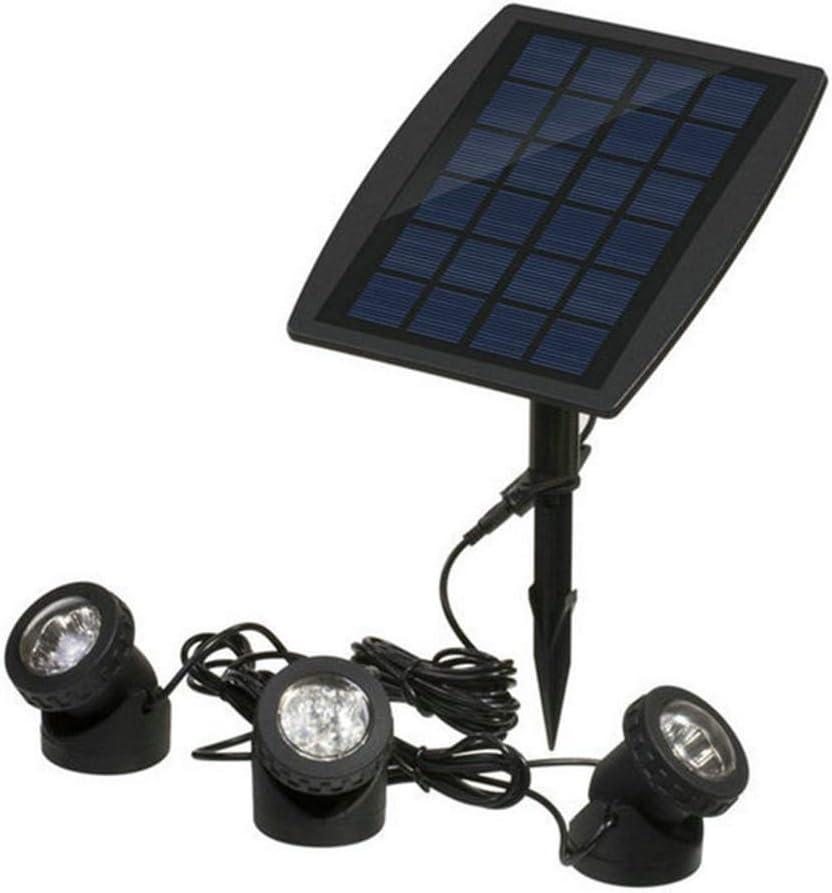 hyy Luz De Piscina De Buceo Solar con 3 Luces 18 Luces LED De Paisaje Luces Subacuáticas IP68 Luz Solar Impermeable L,White Automaticswitching