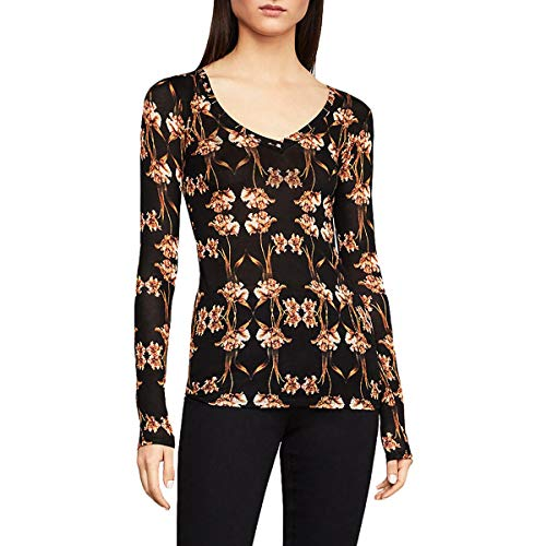 Knit Tulip - BCBGMAXAZRIA Women's Knit Top, Small Fringed Tulips, L