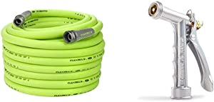 Flexzilla Garden Hose, 5/8 in. x 100 ft., Heavy Duty, Lightweight, Drinking Water Safe - HFZG5100YW & Gilmour Full Size Zinc Pistol Grip Nozzle with Threaded Front, Silver (857302-1001)