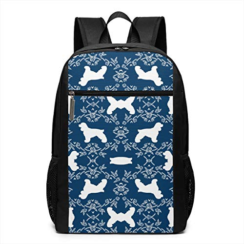 Ksiwo Cocker Spaniel Dog Breed Silhouette Florals Navy Travel Laptop Backpack, Anti Theft Backpack Port for Men and Women, Water Resistant College School Computer Bookbag,Business ()