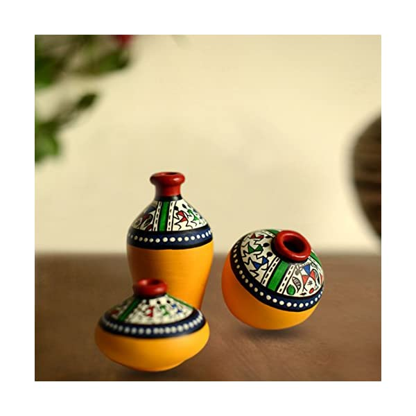 Hand-Painted Home Decor Miniature ExclusiveLane Warli Terracotta Pots