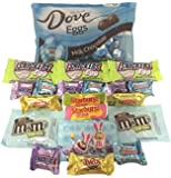 Dove Milk Chocolate Easter Eggs Candy (20 Count) Mars Gift Hunts Basket Stuffer Variety Pack Bundle with Snickers Eggs, FUN Size M&Ms, Starburst, and Minis Snickers, 3 Musketeers and Twix