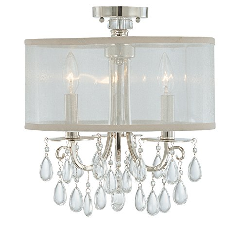 Crystorama 5623-CH_CEILING Crystal Accents Three Light Semi-Flush from Hampton collection in Chrome, Pol. Nckl.finish, (Forward Light Ceiling 3 Mount)