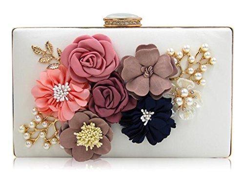 EPLAZA Womens Satin Flower Evening Clutch Bag Pearl Beaded Wedding Bridal Purse Prom Party Handbag (white)