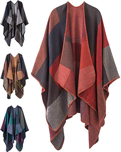 (Women Plaid Shawls and Wraps,Winter Poncho Cape,Soft Cashmere Cloak,Oversized Long Cardigan Sweaters(Red))