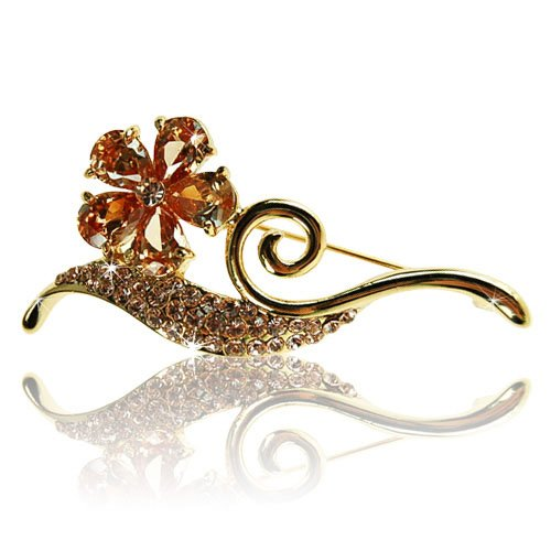 Janeo Jewels Costume Jewelry Brooch Pin Topaz Pear Drops Crystals 5 Leaf Clover Flower, 14K Gold, Womens Accessory Swarovski Element Vintage Timeless Design, Special Christmas Gift Wrapped Under (14k Gold Flower Pin)