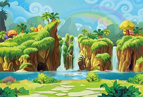 CSFOTO 10x7ft Background Wonderland Waterfall Child Birthday Party Decor Photography Backdrop Cartoon Rainbow Fairy Tale Paradise Beautiful World Children Kid Photo Studio Props Vinyl Wallpaper