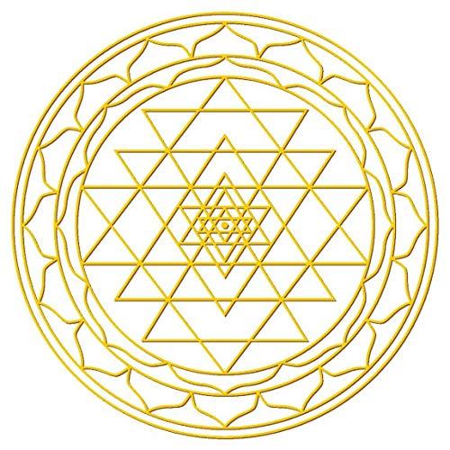 Adesivi 4 x 3 cm/1 x 7, 5 cm in oro giallo e Bianco-trasparente 'Sri yantra' 5 cm in oro giallo e Bianco-trasparente Sri yantra Saraswati.de