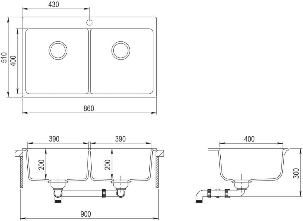 vidaXL Fregadero encastrable de granito gris de dos cubetas lavabos ba/ño bricolaje