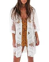 7bab3846cc shermie Women's Floral Crochet Lace Beach Swimsuit Cover Ups Long Kimono  Cardigan White