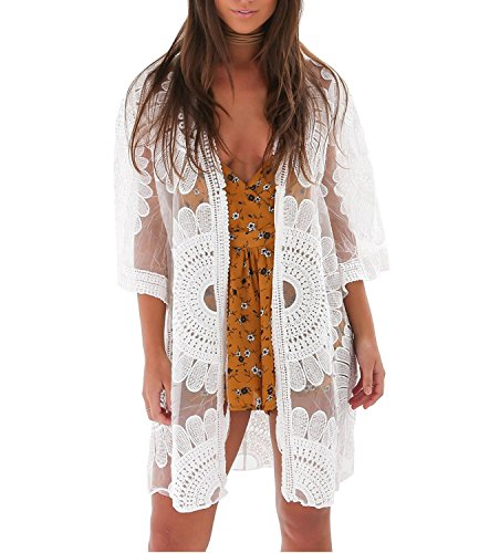 shermie Women's Floral Crochet Lace Beach Swimsuit Cover Ups Long Kimono Cardigan White