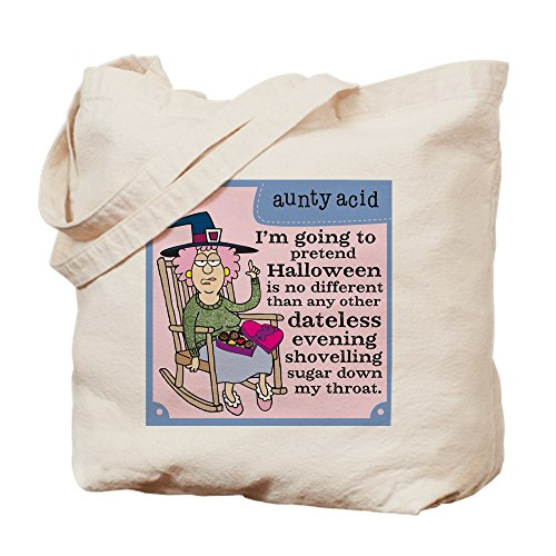 CafePress Aunty Acid: Dateless Halloween Natural Canvas Tote Bag, Cloth Shopping Bag