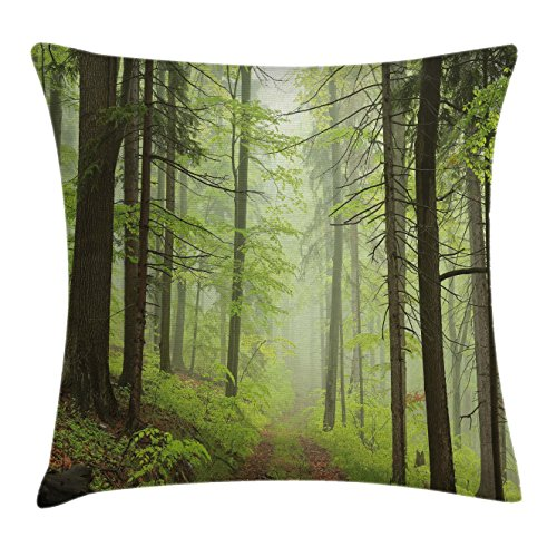 Outdoor Chair Alder (Lunarable Outdoor Throw Pillow Cushion Cover, Trail Trough Foggy Alders Beeches Oaks Coniferous Grove Hiking Theme, Decorative Square Accent Pillow Case, 36 X 36 Inches, Pale Green Pale Yellow)