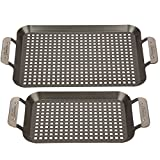 Grill Topper BBQ Grilling Pans (Set of 2) - Non-Stick Barbecue Trays w...