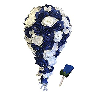 Angel Isabella 2pc Set: Cascade Bridal Bouquet & Boutonniere W/bling: Royal Blue White - Silk Flowers 24