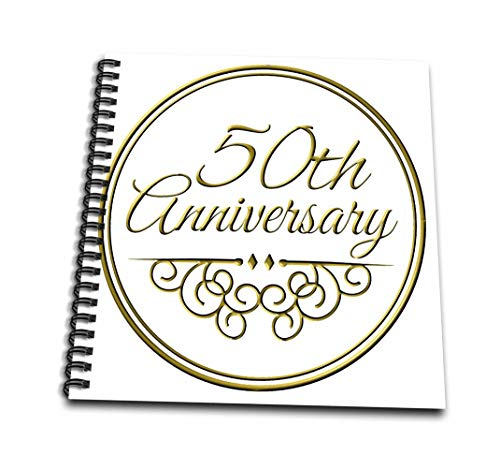 - 3dRose db_154492_2 50th Gold Text for Celebrating Wedding Anniversaries 50 Years Married Together Memory Book, 12 x 12