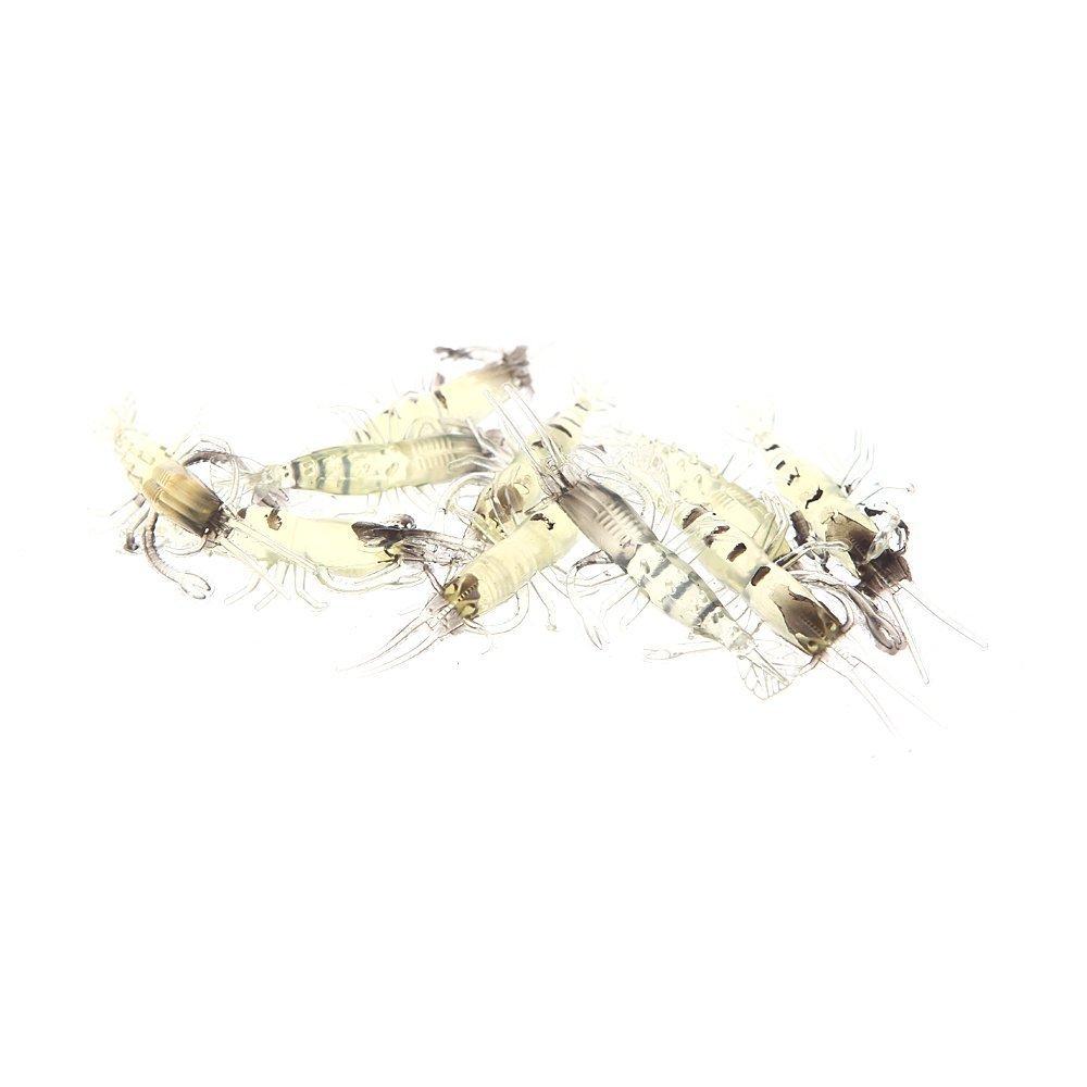 Cikuso 10 Stueck Kuenstliche Fischkoeder Bionic Shrimp Weiche Koeder Fischerei Geraet Naturgetreuer Fischgeruch