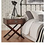 ModHaus Living Modern Wood Accent X Base Nightstand Campaign Sofa Table Rectangle Shaped with Storage Drawer – Includes Pen (Espresso) Review